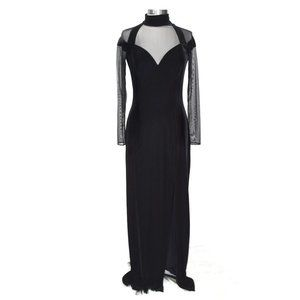 TADASHI Black Velvet Illusion Fitted Formal Gown